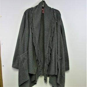 Woman Within Blanket Jacket Sz. L Gray Open Front